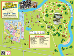 Peace River, Arcadia FL Campground Sitemap
